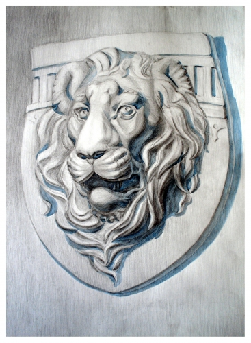 drawing, watercolor, Lion, lion head from plaster