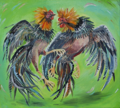 drawing, watercolor, Roosters Puerto Rico, cock-fights