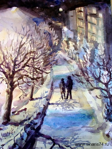 drawing, watercolor, Evening City, evening, lights, city, a couple of people, snow, winter