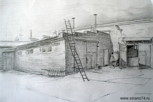 drawing, watercolor, Manufacture building, stairs, shop, house