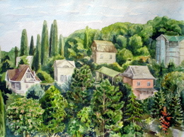 drawing, watercolor, Kudepsta village, houses, greens, autumn, houses, trees