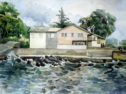 drawing, watercolor, Kudepsta village, waves, house on the beach, waves, forest