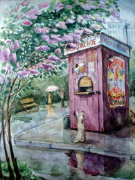 drawing, watercolor, Stand with ice cream, ice cream stand, pink, dog, circus, advertising, bench, lilac, summer, puddles