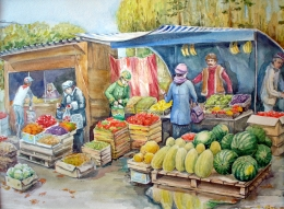 drawing, watercolor, In the market, market, watermelons, shops, sellers, buyers, melons, vegetables, fruits