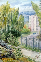 drawing, watercolor, Snezhinsk, street, fence, tratuar, forest, sky, houses