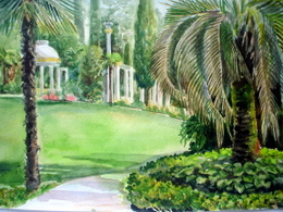 drawing, watercolor, Arboretum, palms, herbs, spa, summer