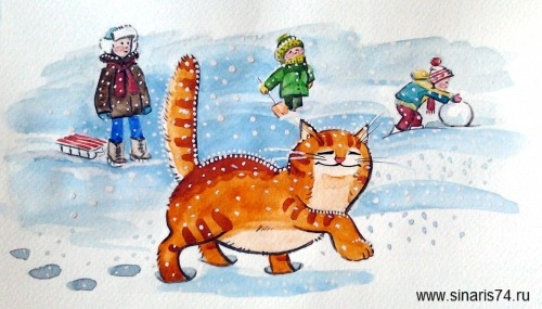 drawing, watercolor, Red Cat, children, snow, tracks, snowman, sled, snow drifts