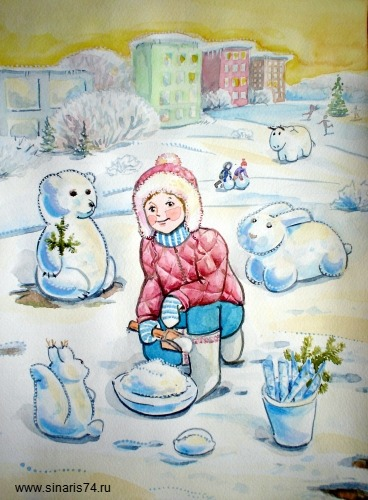 drawing, watercolor, Snowmen, Girl sculpts snow beasts, animals, winter, bucket, shovel, bear, rabbit, squirrel, bull