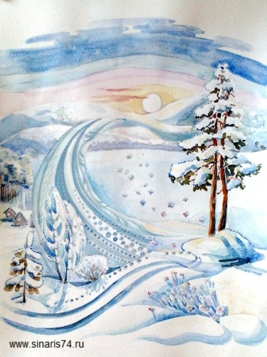 drawing, watercolor, Winter road, winter, forest, sun, snow, snow drifts, pine, shrubs