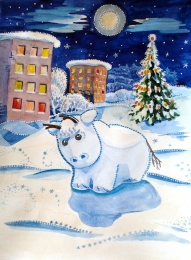 drawing, watercolor, Goby, bull, winter, tree, house, lights in the windows, the moon, the starry sky, snowdrifts