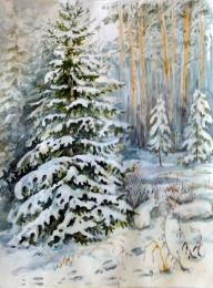 drawing, watercolor, Tree in snow, forest, snow drifts, winter, trees