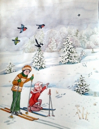 drawing, watercolor, Skiers, forest trail, skiing, kids ski poles, waxwings, trees, snow drifts, snow, trails