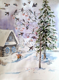 drawing, watercolor, Waxwings, winter, house, spruce, snow drifts, snow, birds, branches