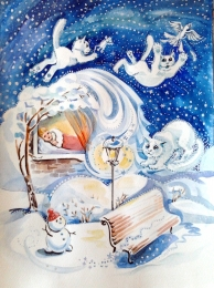 drawing, watercolor, Snowstorm, snow, winter, bench, lantern, cat, girl under a blanket, wood, drifts