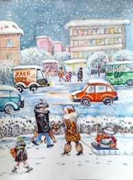 drawing, watercolor, Snow-covered city, people, sled, winter, snow drifts, cars, roads, houses, snowflakes