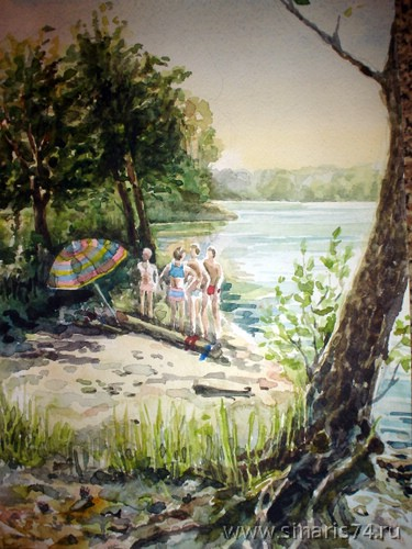 drawing, watercolor, Sinara, beach, children, umbrella, coast, beach, log, tree, swimming trunks