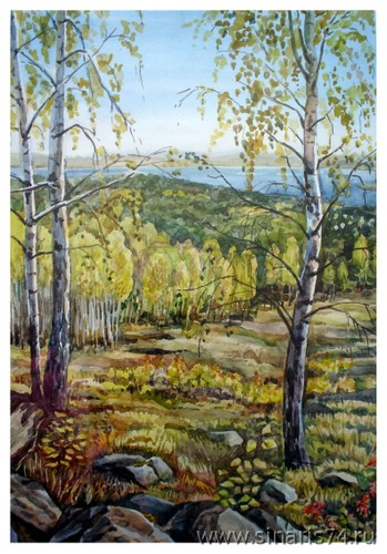 drawing, watercolor, Lisaya, mountain, birch, fall, forest, beach, sky, rocks