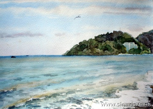 drawing, watercolor, The settlement Kudepsta, beach, beach, sea, seagulls, waves