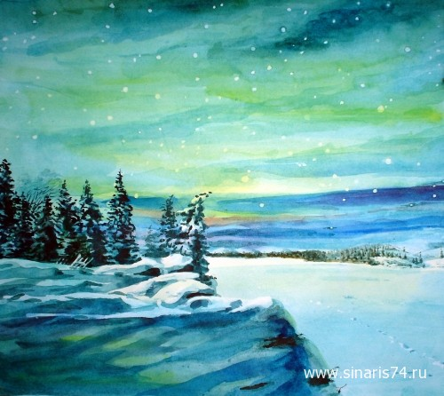 drawing, watercolor, Lapland, forest, winter, beach, snow, sky, lake