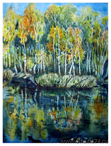 drawing, watercolor, Autumn forest, forest, autumn, beach, water