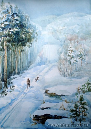 drawing, watercolor, Winter Forest, forest, trail, mountain, dog, people, trees, winter, snow