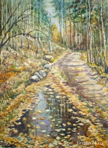 drawing, watercolor, Autumn path, forest, autumn, road, trees, pool