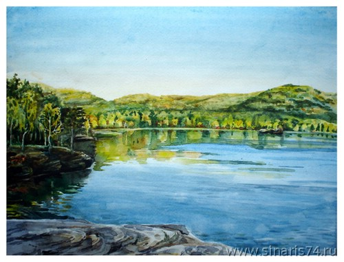 drawing, watercolor, Itkul lake, Beach, rocks, forest, mountains