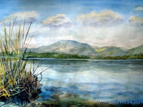 drawing, watercolor, Silach lake, reeds, beach, swamp, mountains, clouds