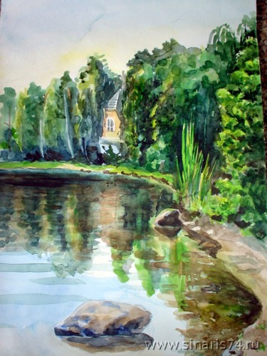 drawing, watercolor, Backwater, shore, stone, plants, herbs