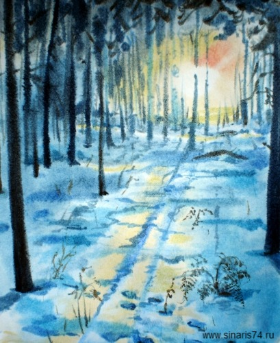 drawing, watercolor, Winter Sunset, forest, trees, snow, winter, sun