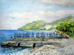 drawing, watercolor, Settlement Kudepsta, seagull, beach, a fence, a seagull