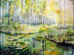 drawing, watercolor, Black River, river, forest, autumn, trees