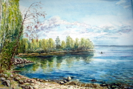drawing, watercolor, Yevseyev plot on track. Sinara lake, shore, stones, summer, sky, boat, clouds