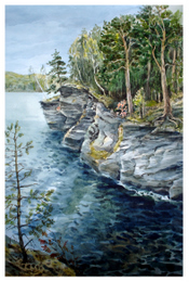 drawing, watercolor, Lake Itkul. A steep coast, rocks, wood, water