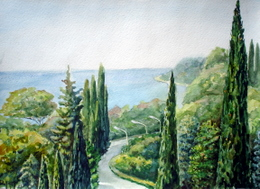 drawing, watercolor, Settlement Kudepsta, lamps, beach, sea, road, trees, lights