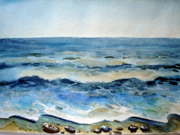 drawing, watercolor, Kudepsta, sea, waves, beach, rocks, sea
