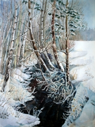 drawing, watercolor, Forest pond, winter, snow, snowdrifts, trees