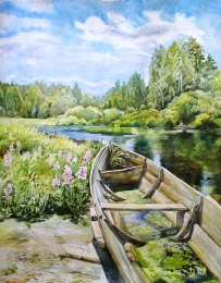 drawing, watercolor, At the River Shaytanka, river, forest, boat