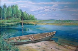 drawing, watercolor, On a sandbank, Beach, boat, forest, trees