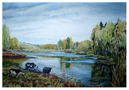 drawing, watercolor, Ozerki (recreation facility), cows, beach, forest, autumn