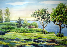 drawing, watercolor, Sinara lake, shore, trees
