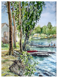 drawing, watercolor, Sinara. Elling, Beach, marina, children, dogs, trees