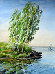 drawing, watercolor, Sinara lake, sailboat, birch, beach, sailboat