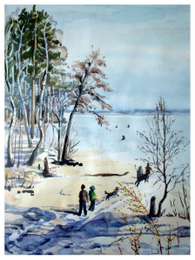 drawing, watercolor, Sinara. District Teplaya, winter, snow, kids, dog, beach, trees