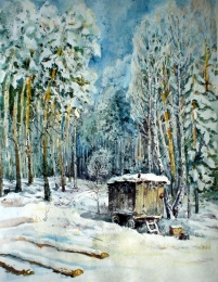 drawing, watercolor, Loggers houses, cabin in the woods, winter, snow drifts, fallen trees