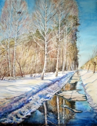drawing, watercolor, Spring path, spring, trees, forest, road, birch