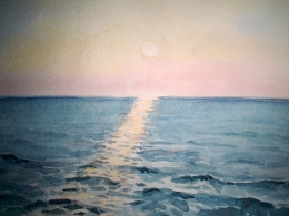 drawing, watercolor, Sunset, Kudepsta, evening sea