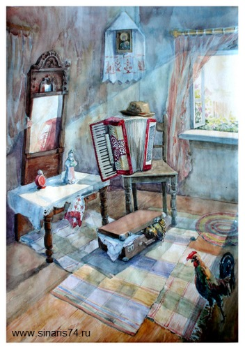 drawing, watercolor, House in the country from the inside, accordion, a rooster, a suitcase, chair, clock, window, summer, day, carpet, mirror, bathroom, house