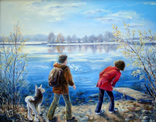 drawing, watercolor, First stone skipping, a couple with a dog on the bank of lake