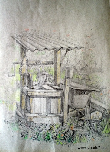 drawing, watercolor, Well, tub, a bucket